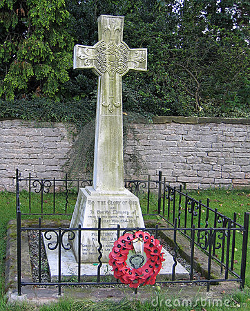 WWI Memorial with poppies