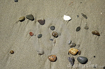 Beach scene - pebbles in the sand