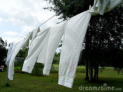 Sheets on the clothes line