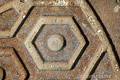 Close-up manhole cover
