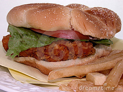 Food:  Fried Chicken Sandwich & Fries