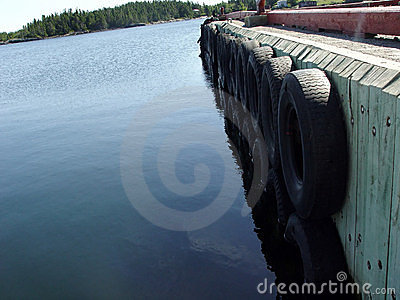 Wharf with tires as bumpers