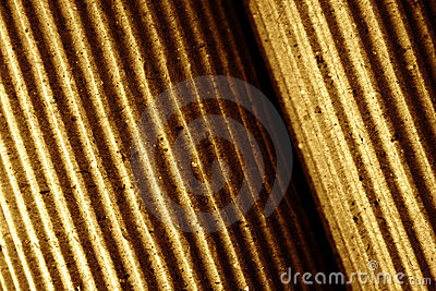 Corrugated paper, rolled-up, close-up, toned