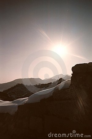 Sunlight on the ridge of the Great Wall