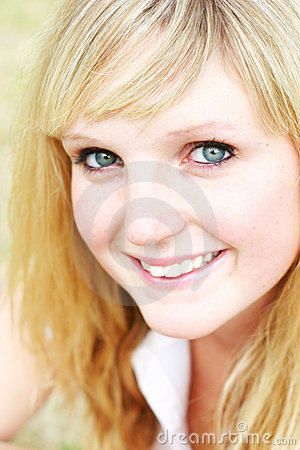 Young woman closeup smiling