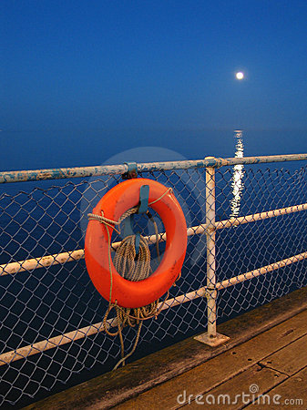 Lifebuoy and moon