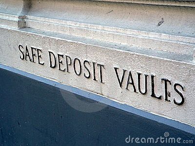 Safe Deposit Vaults sign on bank