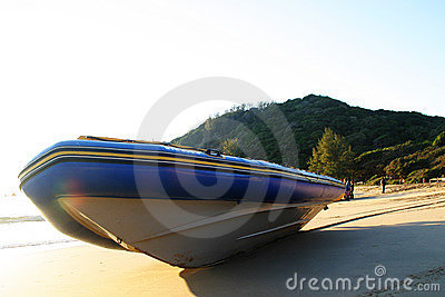 Diveboat on the beach