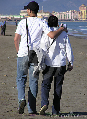Couple walking - he and his mother