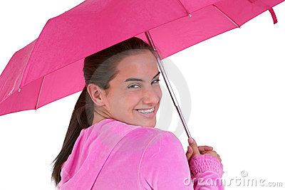 Beautiful Teen With Braces Under A Pink Umbrella