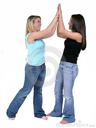 Double High Five Over White