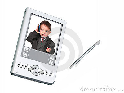 Digital Camera PDA & Stylus Over White With Toddler On Phone