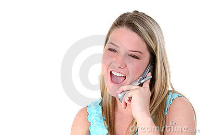 Happy Teen On Cellphone Over White