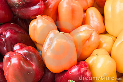 Peppers in three colors
