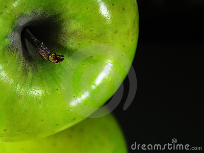 Green apple reflection