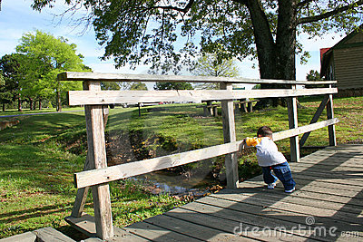 Boy On A Small Wooden Bridge