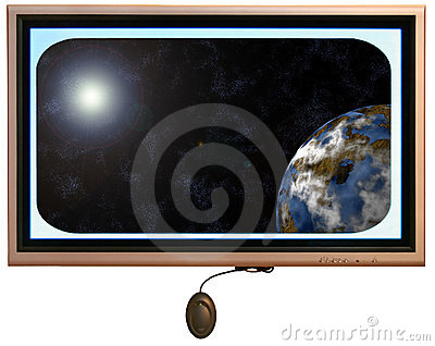 Flatscreen Monitor With Sun And Planet In Display