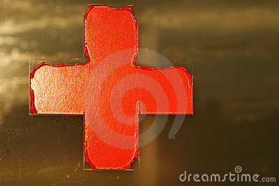 Red cross on window