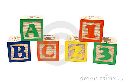 ABC And 123 Blocks In Stacks Over White