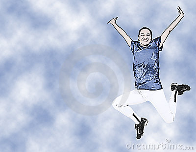 Illustration Teen Girl In Uniform Jumping
