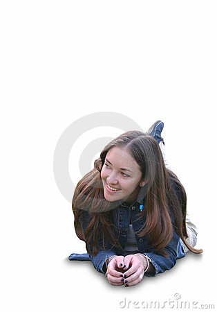 Casual girl smiling on the floor