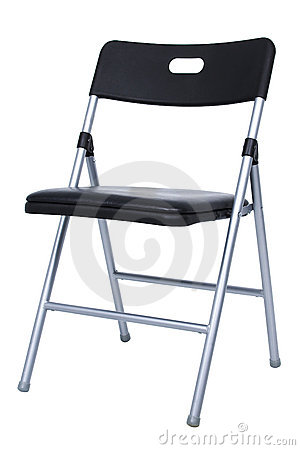 Black And Silver Folding Chair Over White