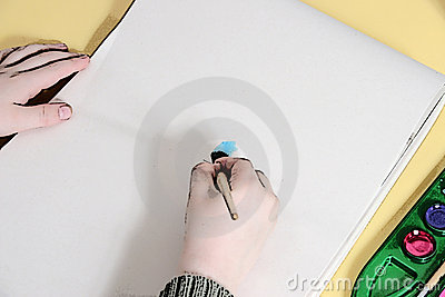 Illustration Of Boy's Hands Painting on Tablet