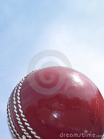 Cricket ball and sky
