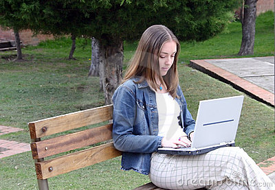 Casual woman on laptop