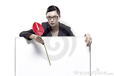 Holding blank board and red flower