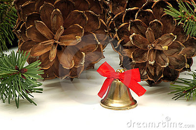 Christmas bell and cones