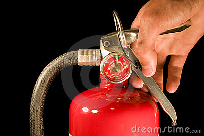 Hand Holding Fire Extinguisher