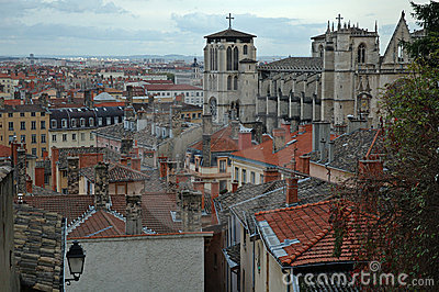 St Jean Cathedral over the roofs (Lyon France)