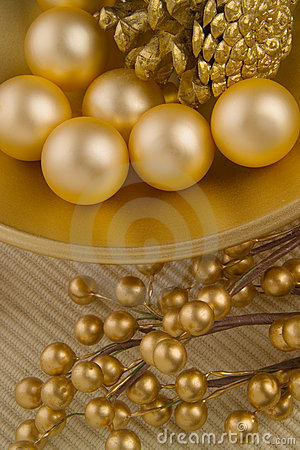 Gold textured bowl with objects