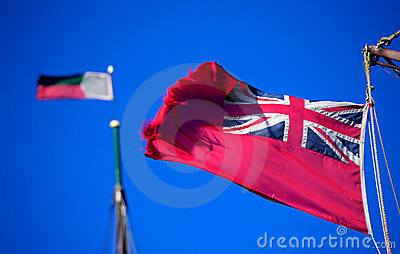 Old red Ensign, Briitish marine flag, in a stiff breeze