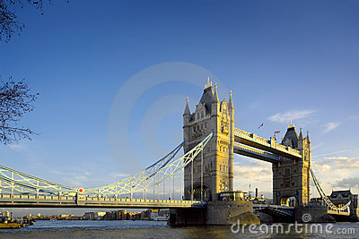 Tower Bridge in London, evening light and blue sky