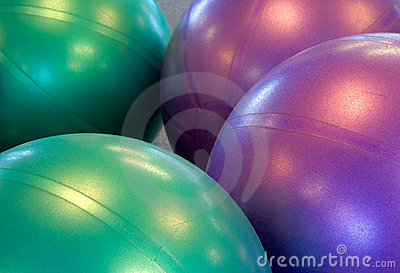 Two colored exercise balls