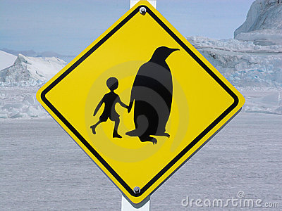 Traffic sign in Antarctica