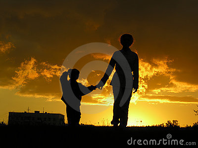 Mother with son sunset