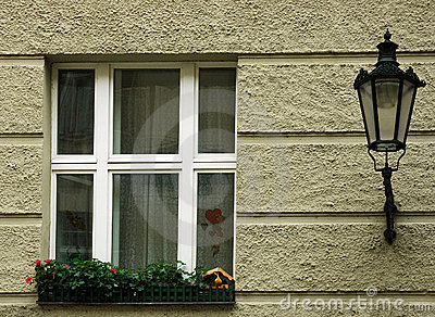 City Window with Lamp