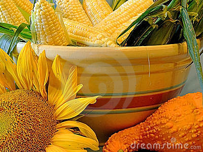 Vegetables and Sunflowers
