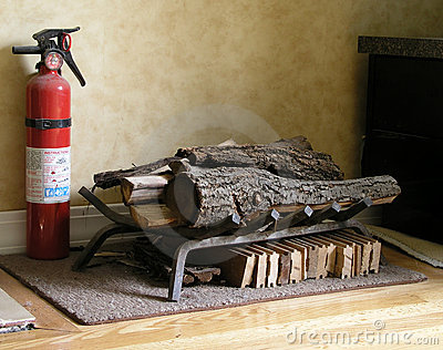 Fire Extinguisher and wood