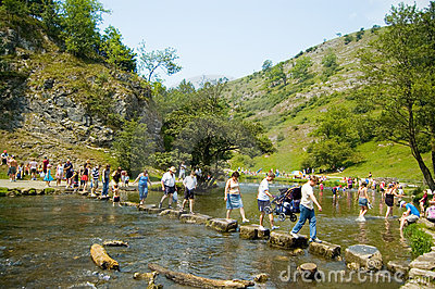 People crossing river Dove