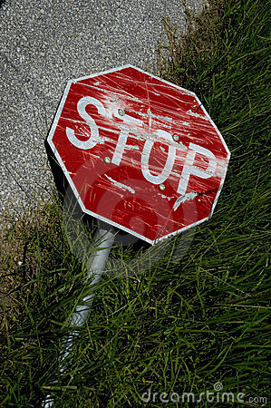 Rundown stop sign