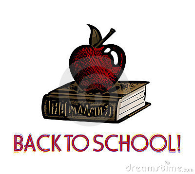 Apple And Book Woodcut -- Back To School