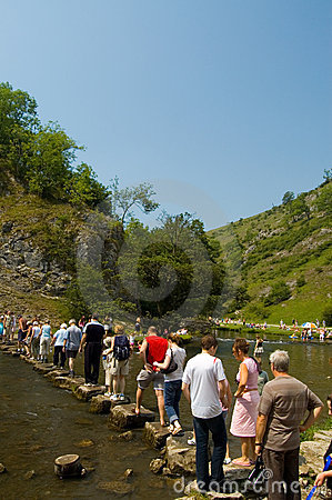 Over the stepping stones,dovedale