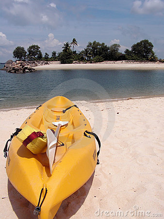 Kayak on tropical beach