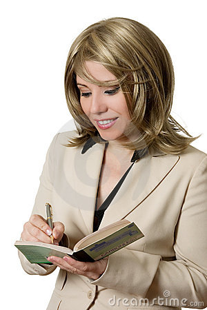Businesswoman writing receipt