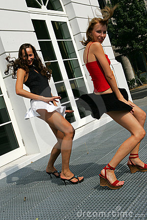 Two Girls in mini skirts