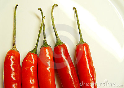 5 chillies arranged in a row